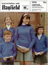 "Hayfield 1036 Vintage School Knitting Pattern Cardigan Jumper  Sweater DK 24-32"""