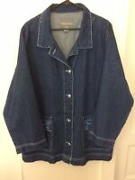 Womens Totes Denim Jacket Weather Stoppers Size 1X Embroidered