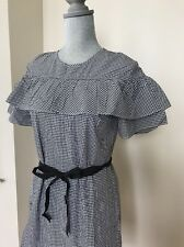 NEW J CREW Size 8 #F8785 Black White Belted Edie Dress in Micro microgingham
