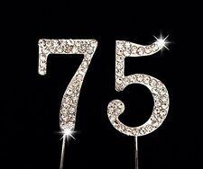 75th Birthday / Wedding Anniversary Number Cake Topper with Sparkling Rhinestone