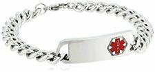 "Cuban Identification Bracelet, 8"" Men's Steeltime Stainless Steel Medical"