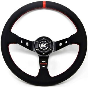 KODE-350mm Deep Dish Leather Steering Wheel Red Stitch Fit 6x70mm PCD Boss Kit