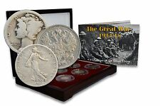 The Great War Box: 6 SILVER Coins of 6 Nations from the First World War (WWI)