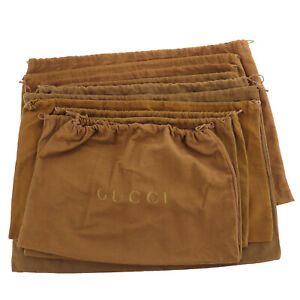 GUCCI Logos Dust Bag 10-sheet Set Brown 100% Cotton Italy Authentic #BA114 O