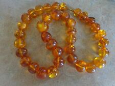 """Vintage Antique Natural Honey Amber Beaded Necklace 88 grams 22.5""""Long"""