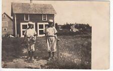 RPPC - Egeland, ND - Two Young Baseball Players outside Barn - 1913