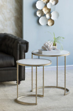 Side Table Bedside Tables Marble Top Living Room Bedroom Gold Nightstand Lamp