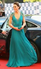 Sexy V Neck Cap Sleeves Kate Middleton Jenny Packham Green Lace Evening Dresses
