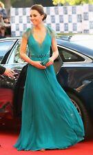 Long V Neck Cap Sleeves Kate Middleton Jenny Packham Green Lace Evening Dresses
