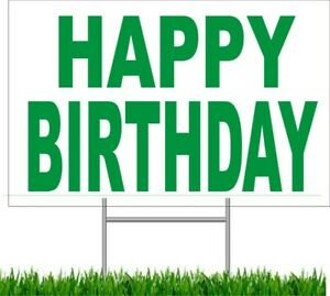 """4 pack Happy Birthday Large Outdoor 24""""x18 Land Yard Sign Wire Stake party"""