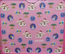 Accessoire ongles nail art, Stickers noël : Bonhomme de neige, parasol cocotier