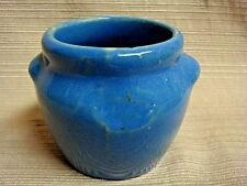 Old Art Pottery Blue Mini Bean Pot Marked Dutchess Cheese New York - no lid