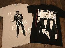 2 (lot) JUSTIN TIMBERLAKE 2013-14 World Tour mens S small shirts NSYNC bieber