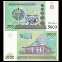 Uzbekistan 5000 5,000 Sum Som, 2013, P-83, UNC