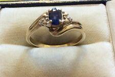 Beautiful Ladies Hallmarked Solid 9ct Gold Fancy Sapphire & Diamond Ring - N 1/2