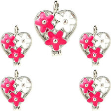Enamel Pink White Heart Beads Cage Charm Locket Diffuser 5X-K1215