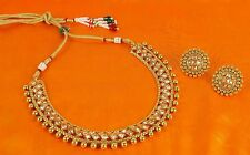 2121 Bollywood Indian Designer Gold Plated Polki Necklace Earring Jewelry Set