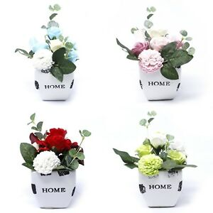 Petite White Pot Soap Flowers Bouquets - Roses Shaped Soaps Gift Set Valentines