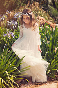 First Communion Dress/Flower Girl White Lace Dress/ Boho-chic Girls Dress