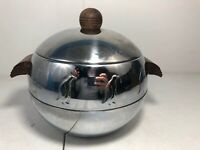 West Bend ART DECO Penguin Mid Century Chrome Hot Cold Server Ice Bucket