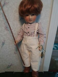 """Early R. John Wright 17"""" Tad Felt Cloth Character Doll only 250 made 1981-1985"""