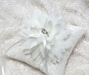 Wedding ring pillow ivory bloom on ivory lace pillow Handmade Ring pillow