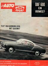 Zeitschrift das Auto Motor und Sport Heft 9/61 Test: VW-Karmann Ghia Saxomat
