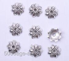 100Pcs Tibetan Silver Tone Tiny-Flower End Bead Caps 9MM A0008