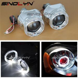 2.5'' Bi-Xenon Projector Lens Square Shroud Angel Eye Demon For Headlight H1 HID