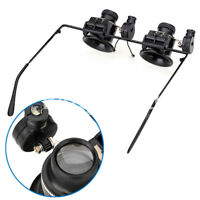 20X Glasses Type Binocular Magnifier Watch Repair Tool With Two Led Light MR