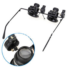 20X Glasses Type Binocular Magnifier Watch Repair Tool With Two Led Light BP