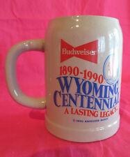 BUDWEISER WYOMING CENTENNIAL STEIN 1890-1990 COWBOY LOGO NUMBERED UNDER 1000!