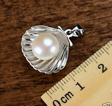 Fashion 9-10mm Natural White Akoya Pearl Sterling Silver Shell Pendant Necklace