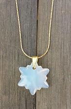 Kette 925 vergoldet mit Swarovski Elements Edelweiss Blume White Opal Weiss