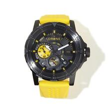 DRONE PRECISION BLACK TIMEPIECES YELLOW PERFORATED SILICONE STRAP WATCH HSN $235