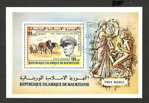 Mauritania -used block-  Nobel Laureates -George C. Marshall- 1977.