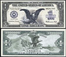 Eagle American Dream Million Dollar Bill Funny Money Novelty Note + FREE SLEEVE