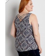 Maurices~New With Tags~Chiffon Tank W/ Strappy Back Floral Bandana Print Plus 4X