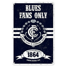 Carlton Blues Fans Only AFL Retro Metal Tin Wall Sign Gift Man Cave Bar Shed