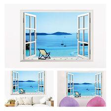 3D Beach Window View Removable Wall Art Sticker Vinyl Decal Wallpaper Home Decor
