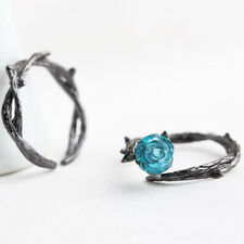 Charm Rose Peach Gold Blue Couple Ring Engagement Wedding Jewelry Gifts LD