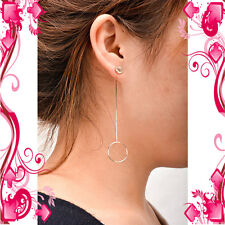 1 Pair Women Punk Circle Ear Drop Long Chain Earrings Dangle Stud