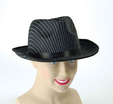 PINSTRIPE GANGSTER AL CAPONE HAT 20s GODFATHER FANCY DRESS MAFIA FEDORA TRILBY