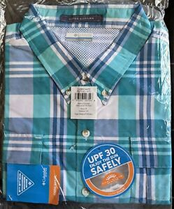NEW COLUMBIA PFG Mens 2X Super Bahama SS Fishing Shirt BIG XXL Bright Aqua Plaid