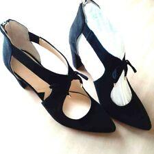 Adrienne Vittadini Womens 8.5 Black Velour Block Heels Ankle Zip Tie Pointed Toe