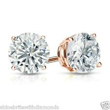 Round Earrings Studs 4 Ct Solid 14k Rose Gold Brilliant Cut Screw Back Basket