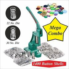 MULTI-FUNCTION BUTTON MAKING PRESS COVER MACHINE +2 DIES +1400 BUTTONS
