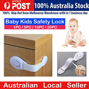 Child Adhesive Kid Baby Safety Drawer Door Lock Cupboard Cabinet Belt White