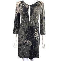 ETRO Milano - S/M - Keyhole Bead Paisley Floral Print 3/4 Sleeve Black Tan Dress