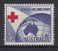 APD508) Australia 1954 3½d Red Cross, fresh MUH with misplaced cross